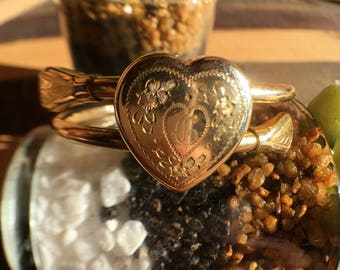 Antique Victorian Monogram Bangle with Heart