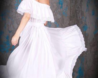 White cotton dress Wedding maxi dress Maternity dress Ivoir lace dress Plus size wedding dress Photoshoot maternity Bridesmaids Boho dress