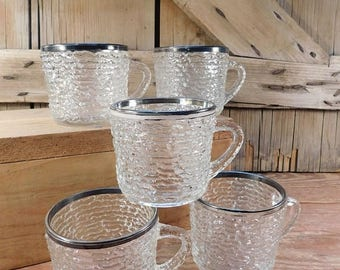 20% OFF SALE - Vintage Clear Glass Textured Cups with Silver Rim, Set of 5 Cups, Punch Bowl Cups