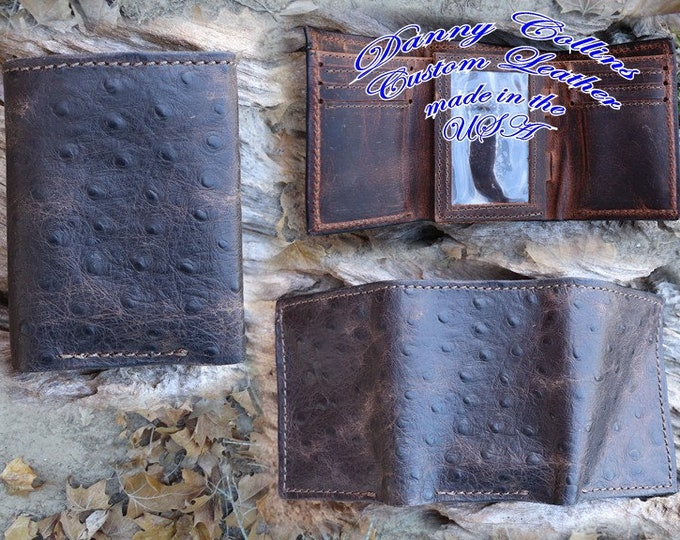 Embossed Ostrich Trifold Wallet, Ostrich Wallet, Mens wallet