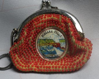 Vintage  Niargara Falls Beaded Coin Purse