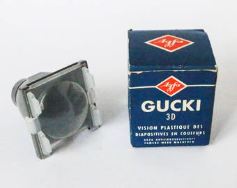 Agfa Gucki - Vintage photo slide viewing device - Transparency magnifiying lens glass daylight viewer, Photography slides  accessory 50s 60s