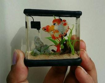 "Miniature Resin Delta Koi Betta Fish Tank ""Acid Trip"" OOAK"