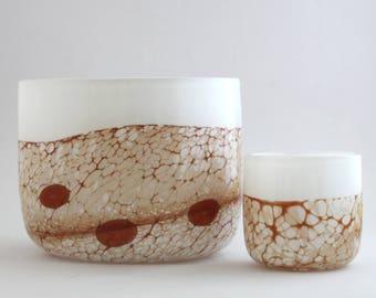 "Ingeborg Lundin, Målerås ""Beautiful two-piece glass bowl set"""