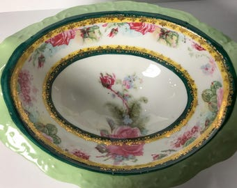 Vintage H & C Imperial Carlsbad Green Footed Bowl