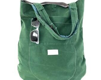 Emerald green cotton tote, repurposed cotton tote bag