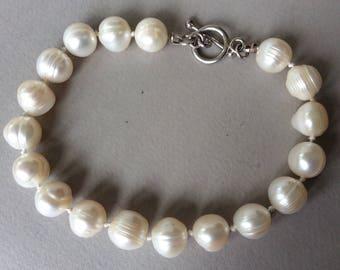 Baroque Ringed Freshwater Pearl Sterling Silver Bracelet