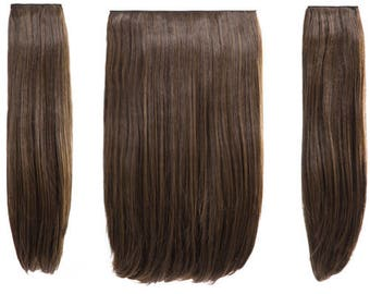 Hair extensions 18″ Three pieces straight clip in extension heat resistant synthetic Hair