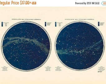 ON Sale 20% OFF Vintage Star Map - Astronomy Poster - Astrology Poster - Northern and Southern Hemisphere Fine Art Print - Milky Way Print -