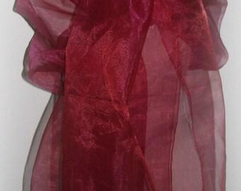 Big shawl in Burgundy organza