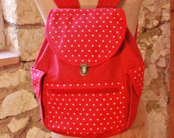 Red pitch denim backpack
