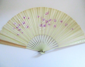 Antique Hand Painted Asian Plum Blossoms Ladies Fan Silk Purple Flowers Floral Painting Chinese Japanese Silver Gilt Wood