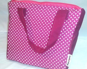 Kids lunch box / lunch bag / insulated lunch, thermos, insulated bag. Small pink and white polka dots