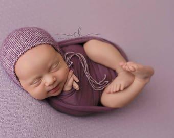 Newborn stretch knit wraps - Blackberry