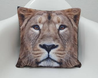Animal Print Cushion Case 17x17 Male Lion Printed Pillow Cover