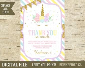 Unicorn Thank You, Unicorn Face Thank You, Printable Unicorn Birthday Party Thank You Card, Rainbow, Unicorn Party, KADENCE, DIGITAL FILE