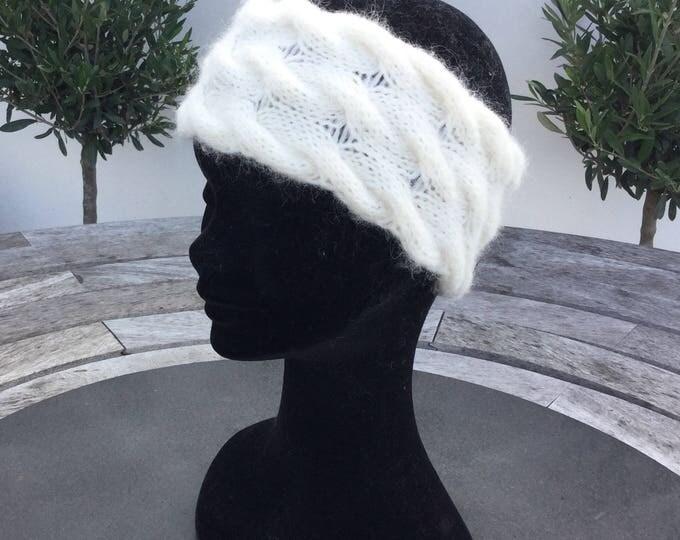 Alpaca cream luxury cable headband / ear warmer by Willow Luxury