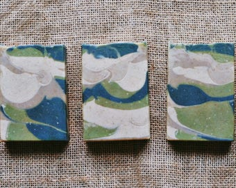 Fig & Olive handcrafted soap featuring Olive Leaf powder, French Green clay and Goat Milk