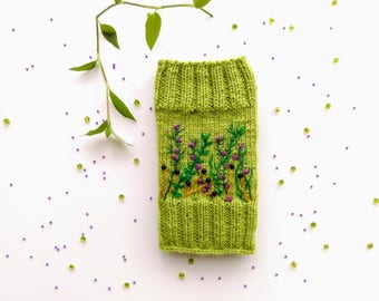 Hand Knit iPhone Pouch Embroidered With Flowers,Wool, Phone Case, Handmade Gift For Her,Apple iPhone 6, 6S, 7, Samsung Galaxy S4, S5, S6, S7