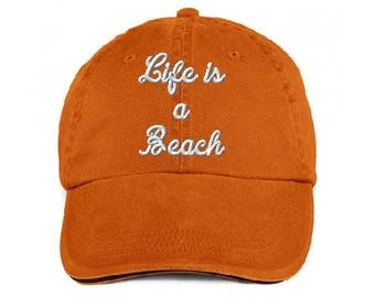 Life is a Beach dad hat,Cap embroidery, Dad cap,embroidery,machine embroidered