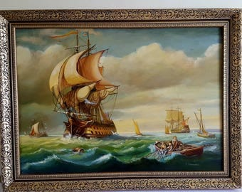 Harry Bennett: HMS? at sea with sailors fishing Nautical Oil on Canvas