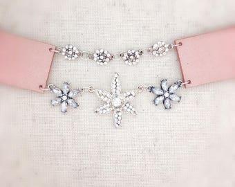 FREE With Any Purchase, pink choker, choker, choker necklace, pink necklace, pink and silver, silver choker
