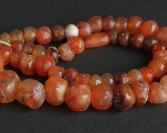 Ancient Roman carnelian beads, Old Natural carnelian beads, II - lll century A.D., Carnelian necklace