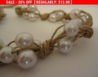 Additional 10 Dollar Coupon Inside Rope Twine Necklace with Faux Pearls Vintage