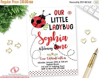 50% OFF SALE Ladybug, Lady bug Invite, Ladybug Birthday Invitation, Ladybug Party, 1st Birthday invitation, Red & black Polka dot, Watercolo