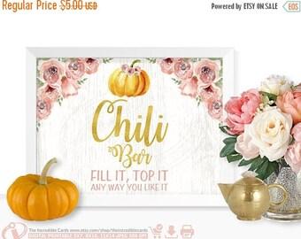 ON SALE Chili bar sign, Pumpkin Chili bar sign, Pumpkin First Birthday Party, Pumpkin baby shower Fall, Pumpkin, Pink and Gold, Instant Down