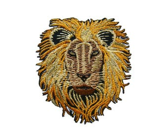 Lion Head Embroidered Applique Iron on Patch