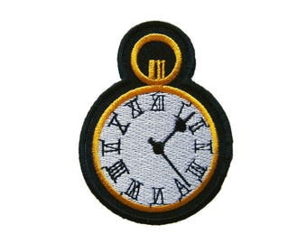 Clock Retro Vintage Embroidered Applique Iron on Patch