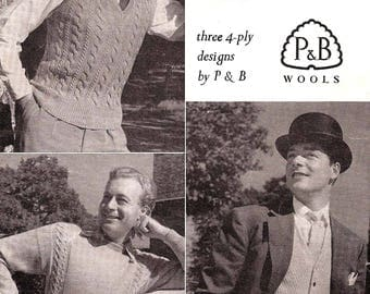 Original Vintage Knitting Pattern~P&B 762~Three Designs for Men~4ply~40-44""