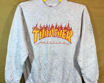 90s Vintage THRASHER MAGAZINE Sweatshirt Adult Small Size Poly Cotton Material