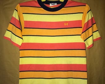 70s Vintage Hands Off Rainbow Stripes Neon Color T-shirt Chest 18""