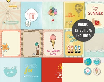 Summer Journal Cards - Instant Download - Printable journaling cards for Project Life and digital scrapbooking