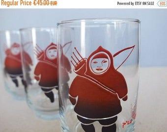 2de ANNIV verkoop Vintage Set van 3 kunst glaswerk Water / drinken van glas door Canadese Inuit kunstenaar Germaine Arnaktauyok de Clair De Dominion Gla