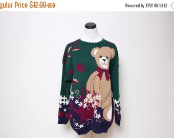 25% OFF VTG 90s Teddy Bear Flower Fall Novelty Sweater L/Xl