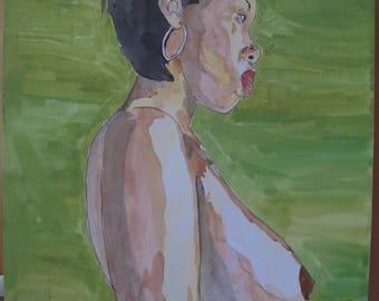 """dessin peinture aquarelle nu feminin erotique fine art   """"Afrique"""""""