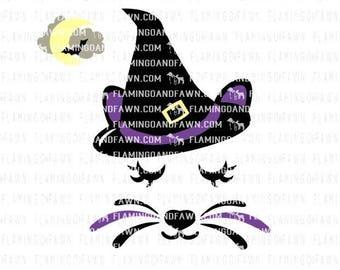 witch svg, girl halloween svg, cat face svg, cat svg file, cat cut file, cat png, halloween girl svg, kitten svg, halloween svg, cat clipart