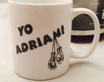 Yo Adrian coffee mug, Rocky inspired drinking mug, i love rocky, drinking mug, boxing lover, movie lovers gifts, dishwasher safe, coffee mug