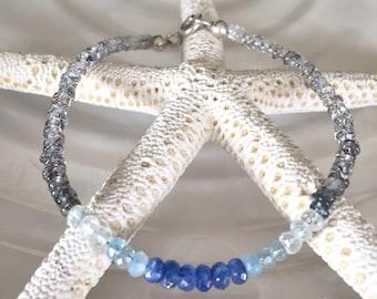 Dainty Shaded Rutilated Quartz, Precious Sapphire Beaded Bracelet