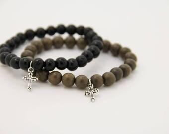 Mens Cross bracelet wooden beads very fashion