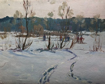 VINTAGE GENRE SCENES Original Oil Painting by a Soviet Ukrainian artist Volshtein M. 1970s, Winter landscape, SocRealism, Soviet Fine Art