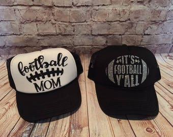 Football hats/ football mom hats/game day hats/football yall