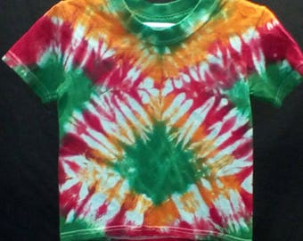 Hand Dyed Tie dye toddlers 2T 3T t-shirt zig zag in green, orange and red Hanes comfortsoft tagless brand
