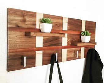 Handcrafted Wood Coat Rack, Modern Coat Rack, Coat Rack Stand, Wall Coat Rack, Wall Hooks, Entry Way Hooks, Entry Way Organizer