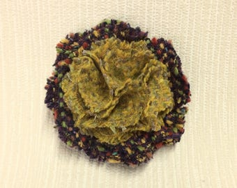 Welsh tweed flower brooch, corsage in brown and mustard yellow