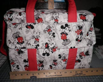 Diaper Bag & Changing Pad made with Mickey and Mininie Mouse Disney Fabric