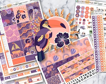 ULTIMATE Weekly Kit / Purple Haze Sunset / Planner Stickers / Fits Erin Condren Vertical & MAMBI / Hand Drawn / Watercolor